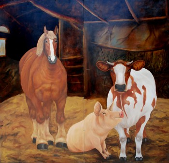 Paard, varken en koe olieverf, 250 x 250 cm