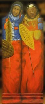 Beschilderde deur Olieverf op hout