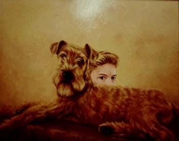 Hond met vrouw Olieverf op paneel, 40 x 50 cm