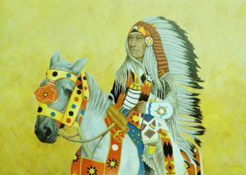 Canadese indiaan Olieverf op paneel, 100 x 65 cm
